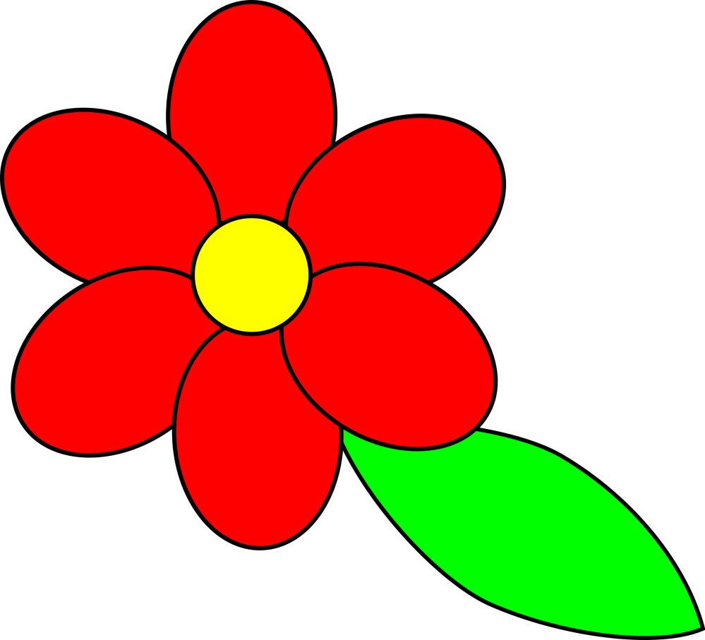 medium resolution of  flower six red petals black outline green leaf