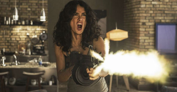 The always badass Salma Hayek in Joe Lynch's 'Everly'