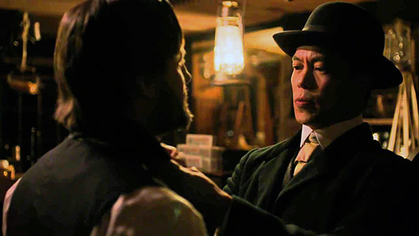 """Byron Mann in a pivotal scene from AMC's """"Hell On Wheels."""""""
