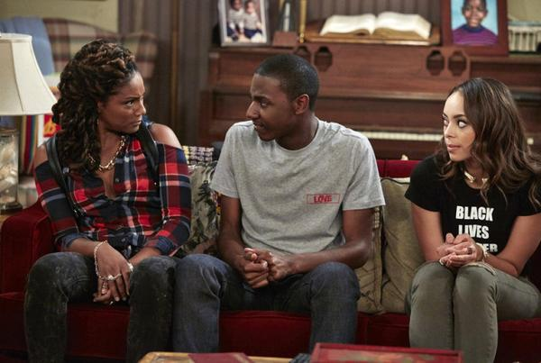 "Tiffany Haddish, Jerrod Carmichael and Amber Stevens West on NBC's ""The Carmichael Show"""