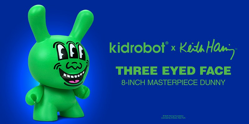 "Kidrobot Announces the Keith Haring Masterpiece Three Eyed Face 8"" Dunny"