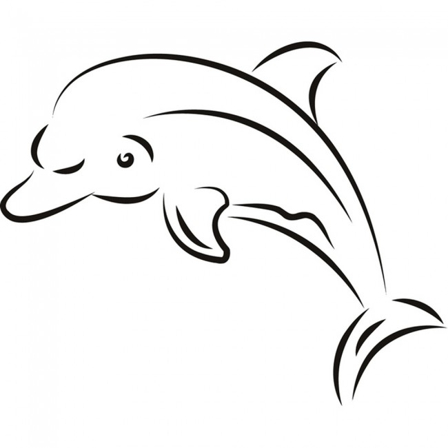 Dolphin Outline Wall Sticker Sea Wall Art