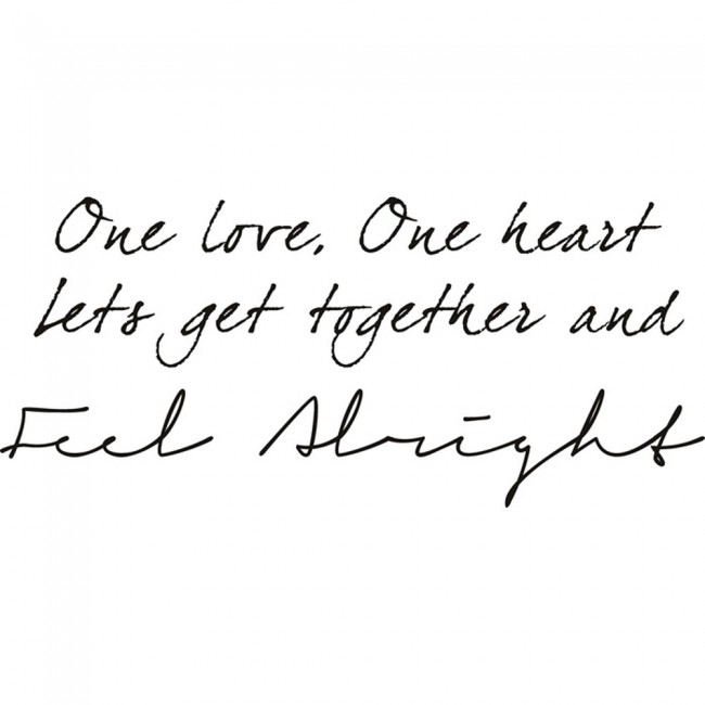 Bob Marley Wall Sticker One Love Lyrics Wall Art