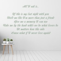 All I Ask Wall Sticker Adele Song Lyrics Wall Decal ...