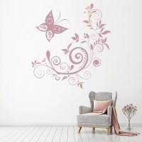 Butterfly Swirls Wall Sticker Floral Wall Decal Girls ...