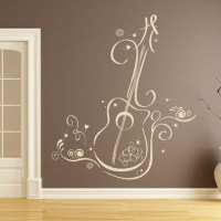 Floral Guitar Wall Sticker Musical Instruments Wall Decal ...