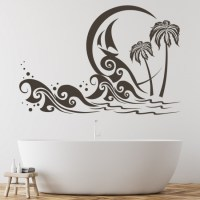 Palm Tree Beach Scene Wall Sticker Beach Wall Art
