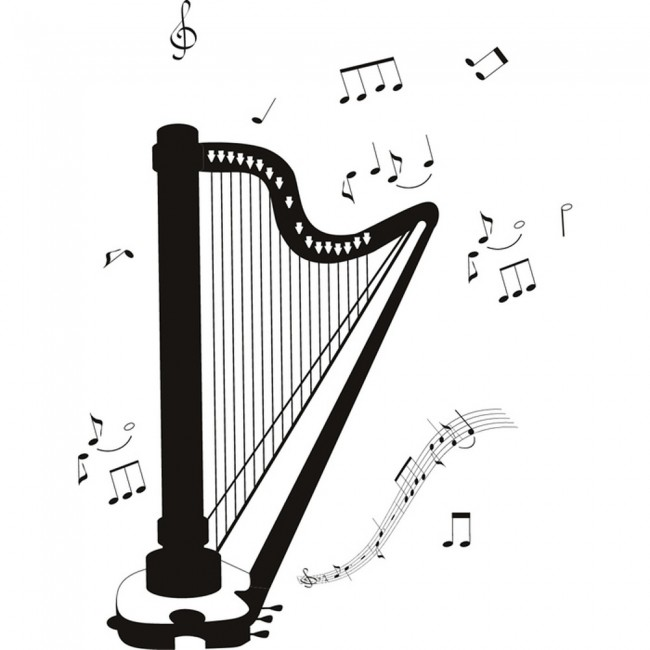 Wallpaper For Girls Room Uk Classical Harp Wall Sticker Instruments Music Wall Decal