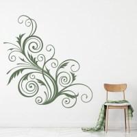 Floral Swirl Print Wall Sticker Decorative Wall Art