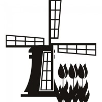 Dutch Windmill Wall Sticker Landmark Wall Art