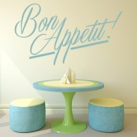 Bon Appetit! Wall Sticker Kitchen Quotes Wall Decal Cafe ...