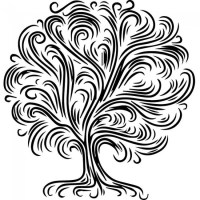 Swirled Abstract Tree Wall Stickers Nature Wall Art