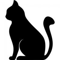 Simple Cat Silhouette Wall Sticker Animal Wall Art