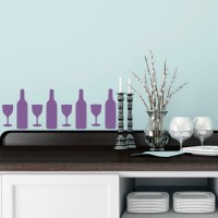 Wine Bottle and Glass Silhouette Wall Sticker Creative ...