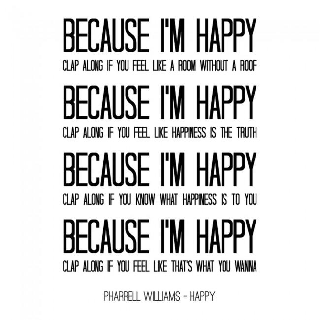 Pharrell Williams Wall Sticker Happy Song Lyrics Wall