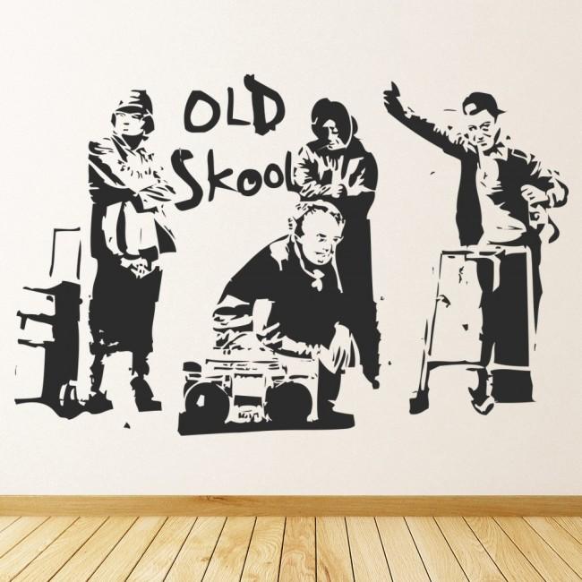 old school music wall sticker banksy wall decal graffiti street art