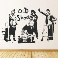 Old School Music Wall Sticker Banksy Wall Decal Graffiti ...