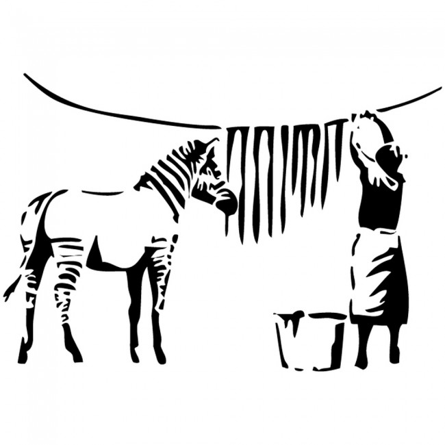 Girls And Trucks Wallpaper Banksy Zebra Washing Line Wall Sticker