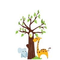 Jungle Animals And Tree Digital Wall Sticker