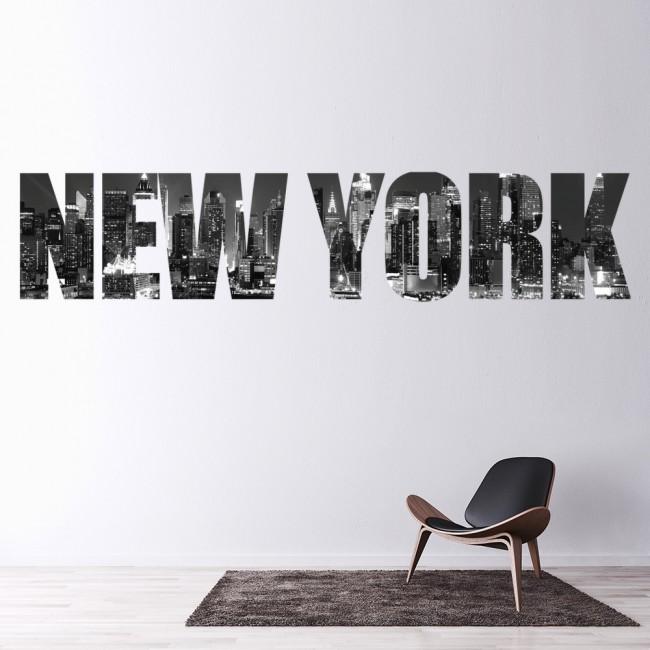 New York City Wall Sticker Skyline Text Wall Decal Bedroom