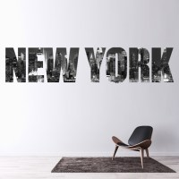 New York City Wall Sticker Skyline Text Wall Decal Bedroom