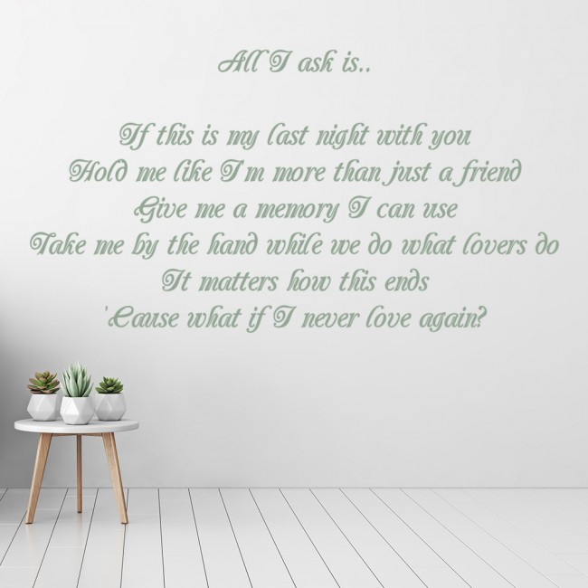 All I Ask Wall Sticker Adele Song Lyrics Wall Decal Bedroom Home Decor