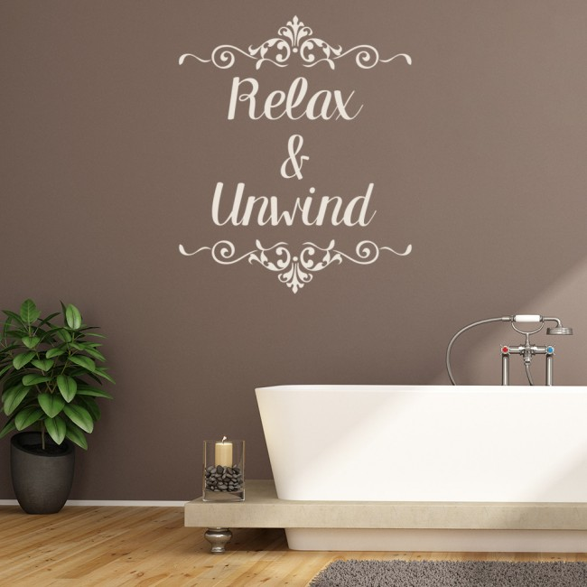 Relax  Unwind Wall Sticker Bathroom Quote Wall Decal Swirl Design Home Decor