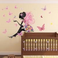 Flower Fairy Wall Sticker Scene Butterfly Wall Decal Girls ...