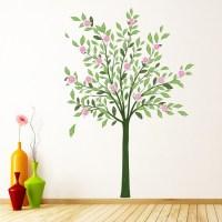 Green Tree Pink Flower Wall Sticker