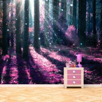 Enchanted Forest Wall Mural Purple Tree Photo Wallpaper ...