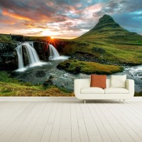 Sunset On Mountain Waterfall Iceland Landscape Wall Mural ...