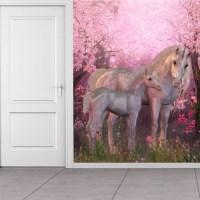 Fairytale Unicorn Wall Mural Pink Cherry Blossom Photo ...