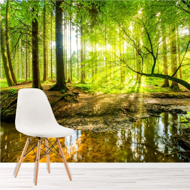 3d Wallpaper For Bedroom Uk Green Tree Wall Mural Forest Landscape Photo Wallpaper