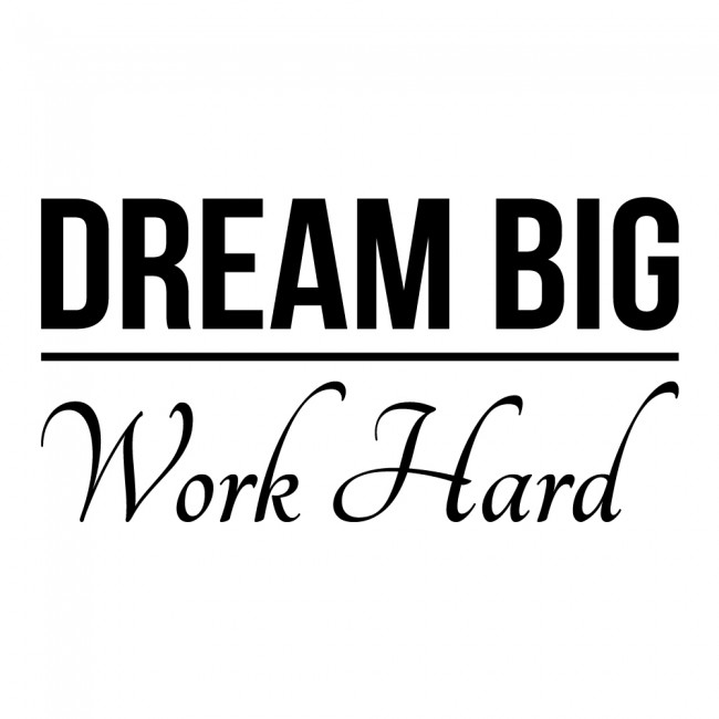Dream Big Work Hard Wall Sticker Inspirational Quote Wall