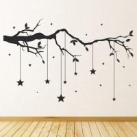 Tree Branch Hanging Stars Wall Sticker