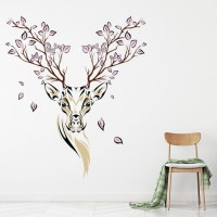 Floral Deer Wall Sticker Animals Stag Wall Decal Living Room