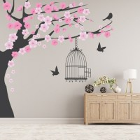 Pink Blossom Tree Wall Sticker Bird Cage Wall Decal ...