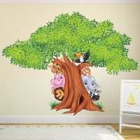 Jungle Tree Wall Sticker Animal Lion Wall Decal Nursery ...