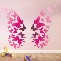Bright Pink Butterfly Wings Animals Colour Wall Stickers ...