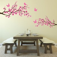 Pink Cherry Blossom Flowers & Birds Wall Sticker - Floral ...