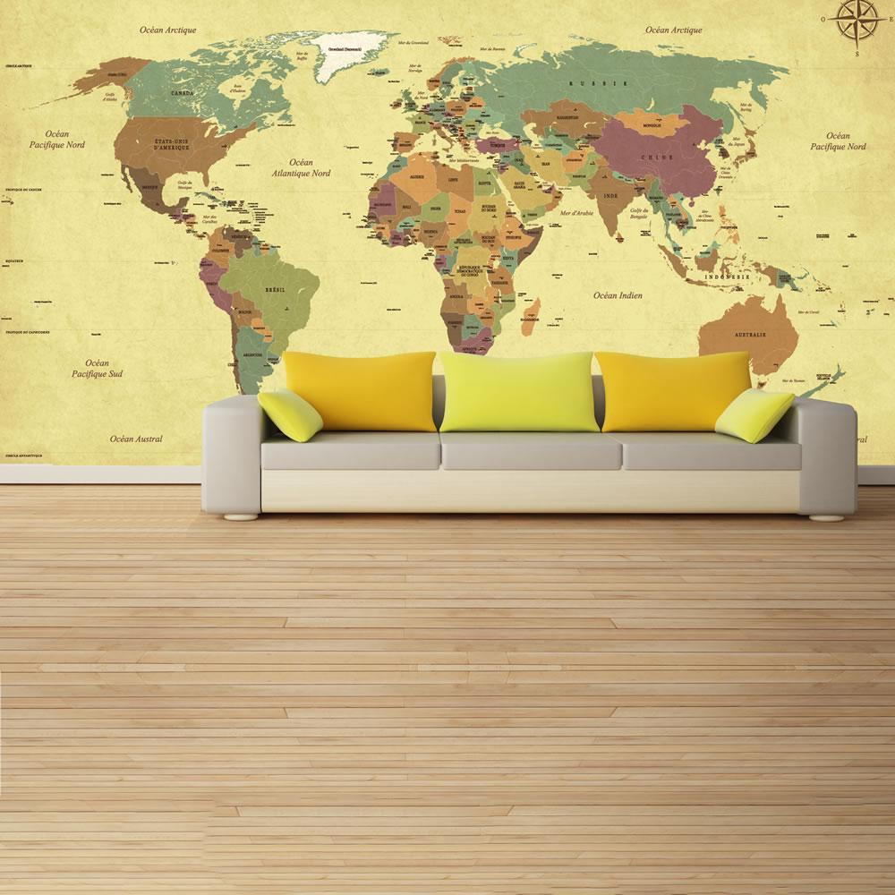 Vintage World Map Wall Mural Photo Wallpaper Living Room