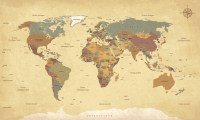 Vintage World Map Wall Mural Photo Wallpaper Living Room ...