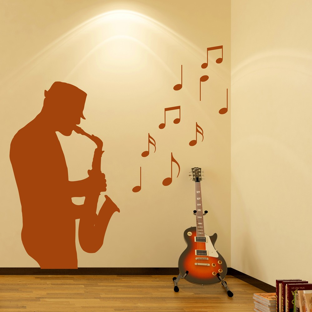 Saxophone Player Wall Sticker Jazz Music Wall Decal Bar Club Home Decor