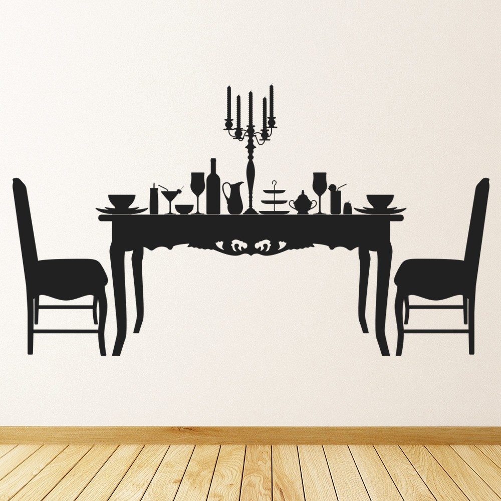 Dining Table And Chairs Wall Sticker Decorative Wall Art