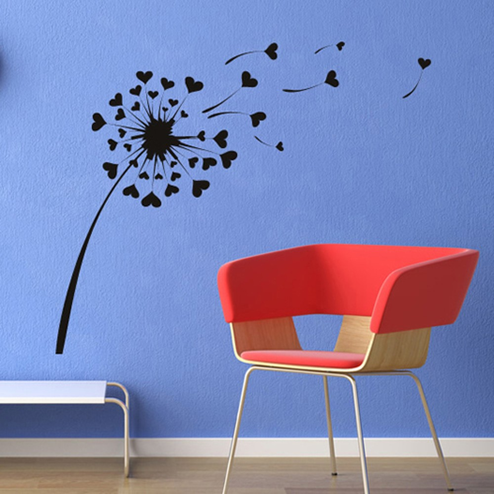 Love Heart Dandelion Wall Sticker Flowers Wall Decal Girls Bedroom Home Decor  Floral  Trees