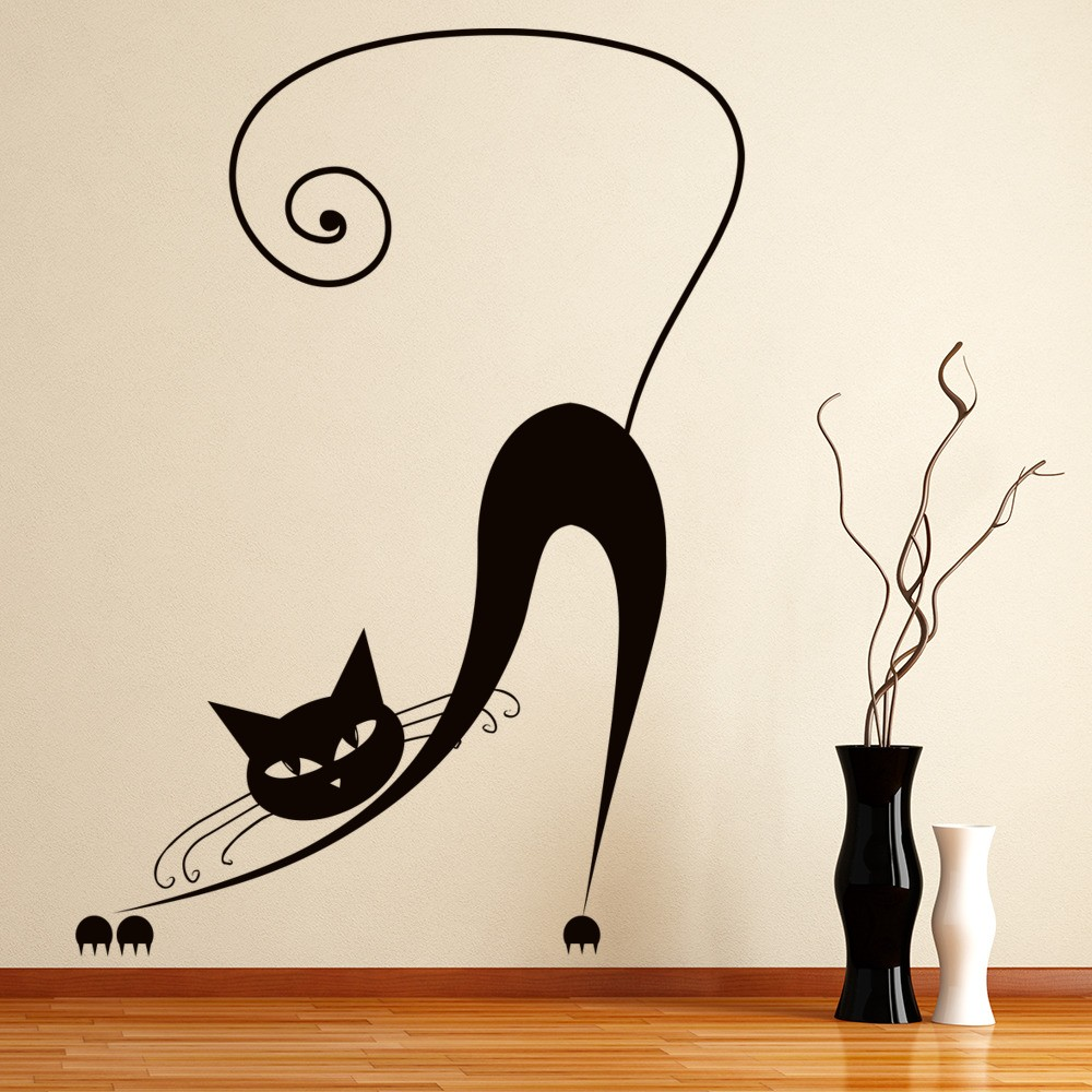 Stretching Siamese Cat Wall Sticker Animal Wall Art