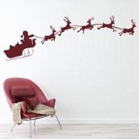 Reindeer Santa Sleigh Wall Sticker Festive Christmas Wall ...