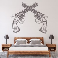 Pistols Guns Wall Sticker Cowboy Wall Decal Boys Bedroom ...