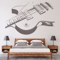Electric Guitar Wall Sticker Rock Music Wall Decal Kids ...