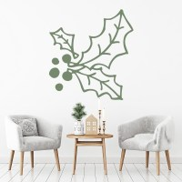 Holly And Berries Wall Sticker Christmas Wall Art